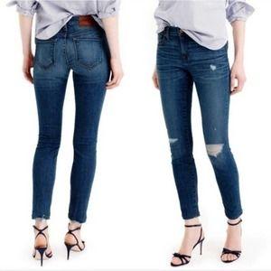 J Crew Distressed Toothpick Skinny Denim Jeans